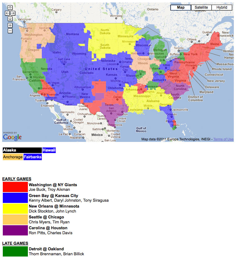 Packers game broadcast map nfl week 14 broadcast map packers game broadcast map publicscrutiny Image collections