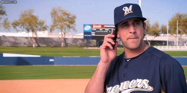 Aaron Rodgers speaking to Coach McCarthy on the phone
