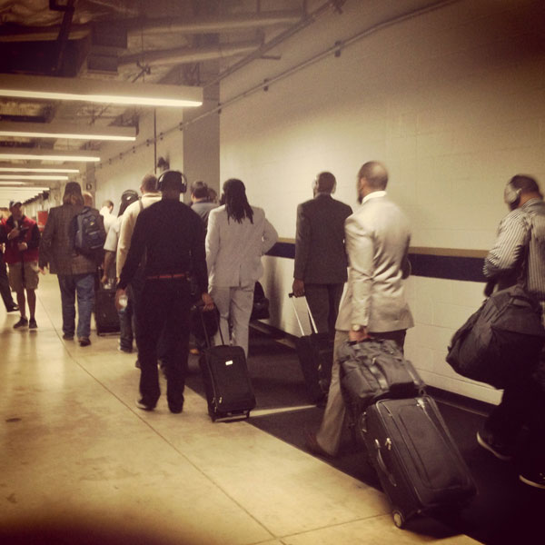 Players arrive at the Edward Jones Dome