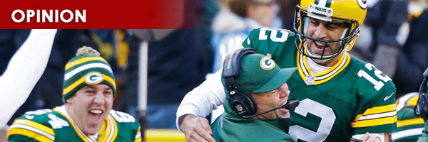 Green Bay Packers QB Aaron Rodgers celebrates with Head Coach Mike McCarthy
