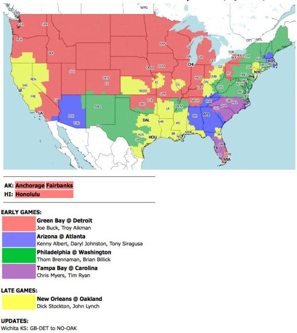 TV coverage map for Sunday's Packers-Lions game