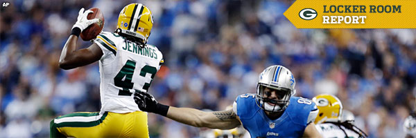 Locker Room Report: Safety M.D. Jennings intercepts Lions quarterback Matt Stafford