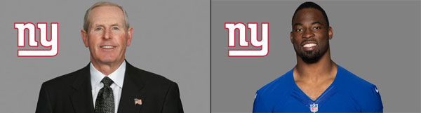New York Giants Head Coach Tom Coughlin and DE Justin Tuck