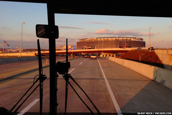View from one of the team buses as it approached MetLife Stadium