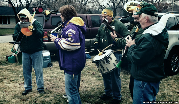 A band plays in one of the parking lots nearby Lambeau Field prior to the Packers-Vikings game