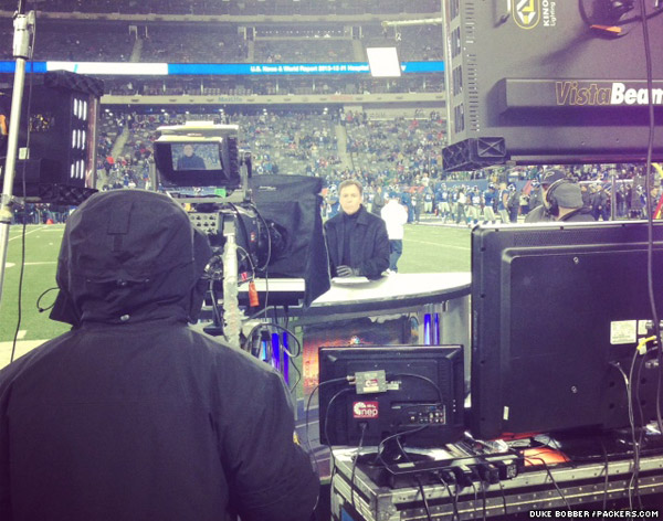 NBC's Bob Costas on set along the sidelines