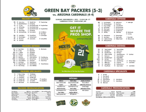 Packers-Cardinals Roster Card