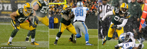 Week 14 game ball winners: Green Bay Packers LB Frank Zombo, C/G Evan Dietrich-Smith, and CB Tramon Williams