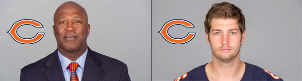 Chicago Bears Head Coach Lovie Smith and QB Jay Cutler