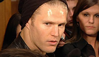 LB Clay Matthews speaking at his locker