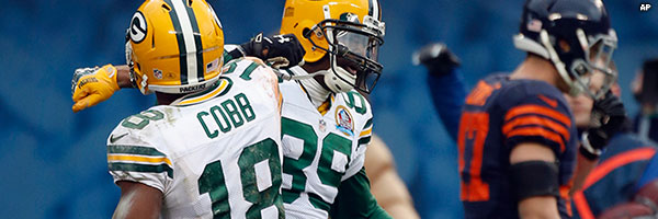 Wide receivers James Jones and Randall Cobb celebrate a touchdown