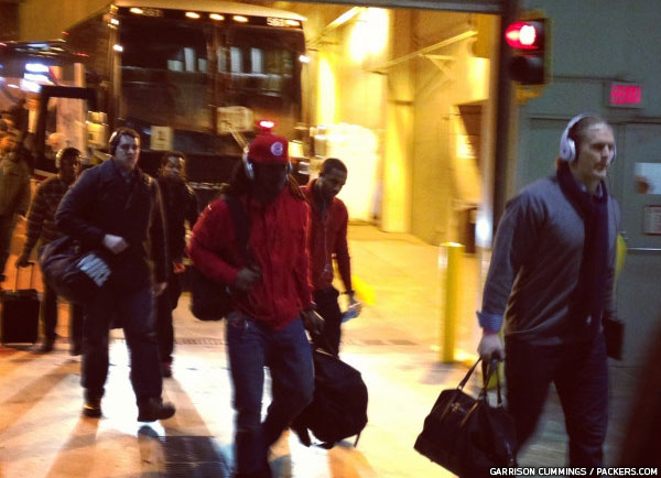 The Packers arrive at Mall of America Field Sunday morning.