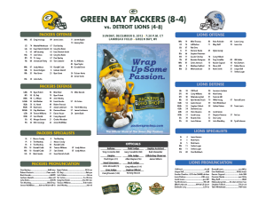 Green Bay Packers vs Detroit Lions roster card