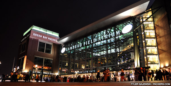 A view of Bob Harlan Plaza in front of the Lambeau Field Atrium