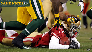 Green Bay Packers wide receiver Jeremy Ross' muffed punt recovered by San Francisco