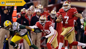 San Francisco 49ers quarterback Colin Kaepernick outruns Packers' defense