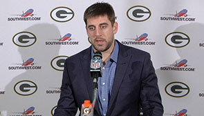 Aaron Rodgers at the podium
