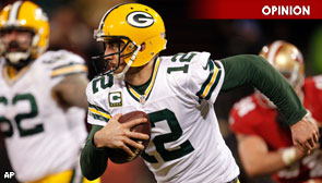 Green Bay Packers quarterback Aaron Rodgers rushing