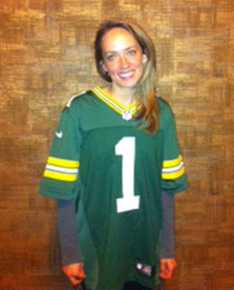 Melissa Colgan representing the Green Bay Packers at the NFL Draft