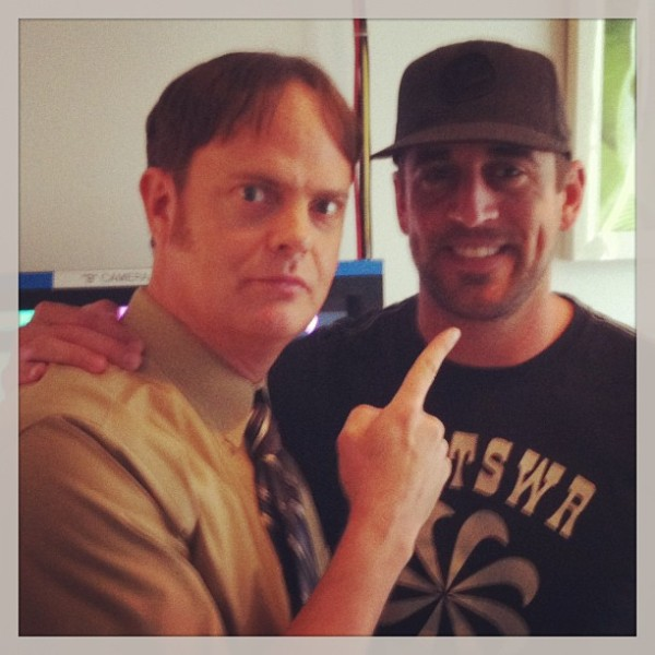 "Actor Rainn Wilson (Dwight Schrute) of NBC's ""The Office"" and Packers QB Aaron Rodgers"