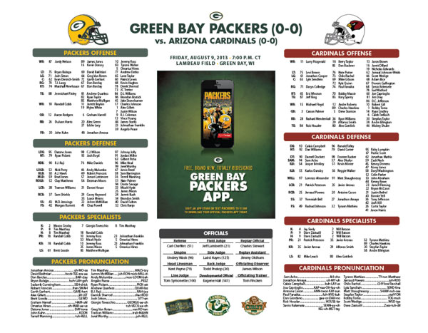 Packers vs. Cardinals Roster Card