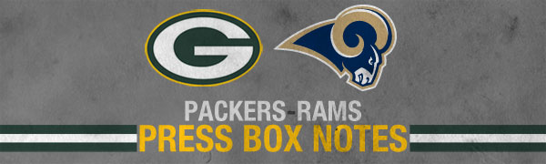 Green Bay Packers at St. Louis Rams - Press Box Notes