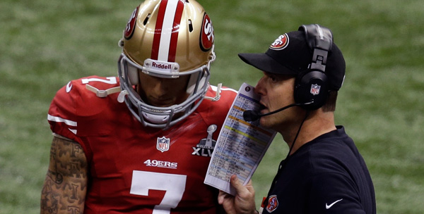 San Francisco 49ers QB Colin Kaepernick and Jim Harbaugh