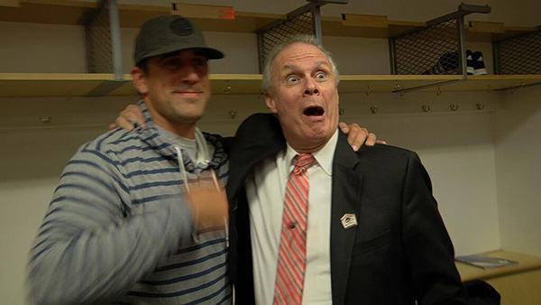 QB Aaron Rodgers and Wisconsin basketball coach Bo Ryan