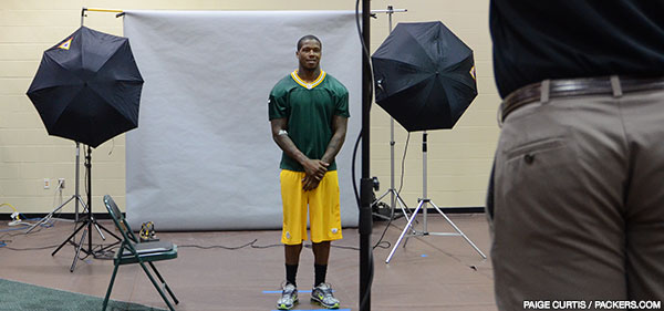 Green Bay Packers cornerback Sam Shields takes his 2014 season headshot
