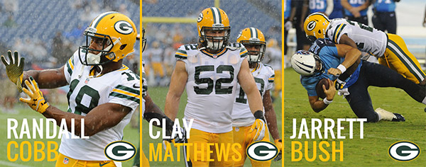As per team tradition, the Packers select game captains each week.  Today's captains will be WR Randall Cobb (offense), LB Clay Matthews (defense) and CB Jarrett Bush (special teams).