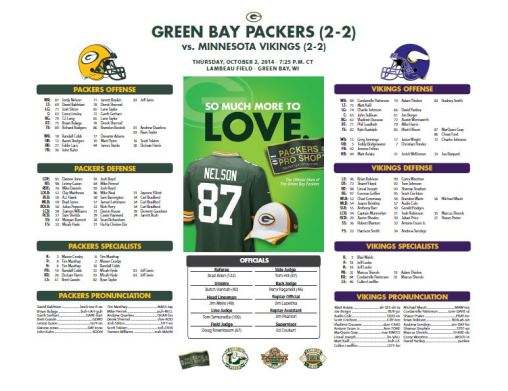 Packers vs. Vikings roster card