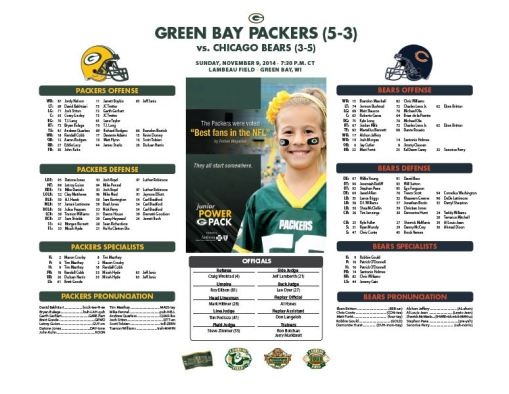 Packers vs. Bears roster card