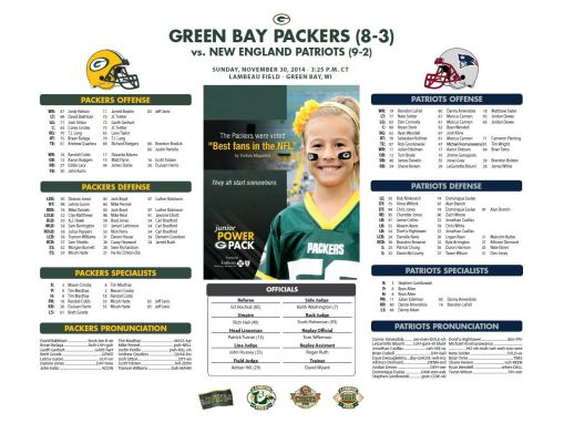 Packers vs. Patriots roster card