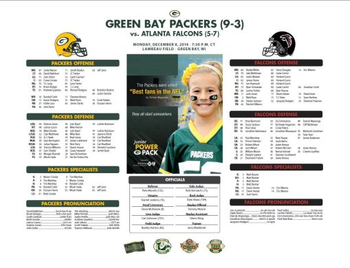 Packers vs. Falcons roster card