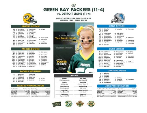 Packers vs. Lions roster card
