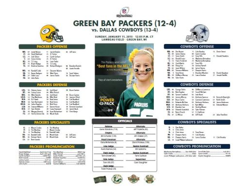 Packers vs. Cowboys roster card