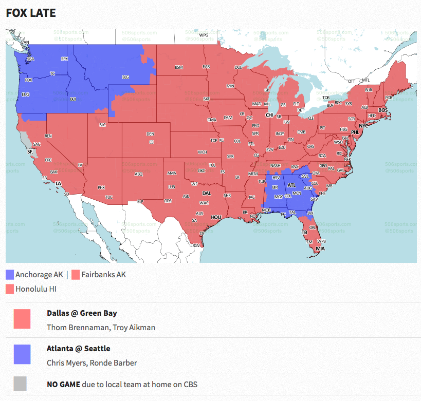 Green Bay Packers Official Blog This Weeks Tv Map Packers Vs Denver Us Map